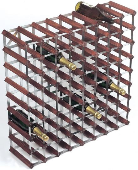 RTA 72 Darked Stained Pine Bottle Wine Rack Kit